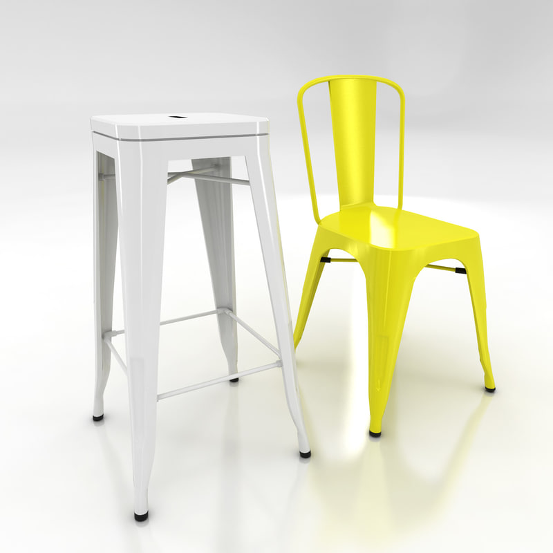 3d xavier pauchard tolix chair stool for Chaise xavier pauchard