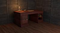 3d model old style desk