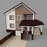 3d max two-story cottage