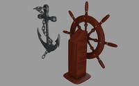 3d anchor ship wheel model