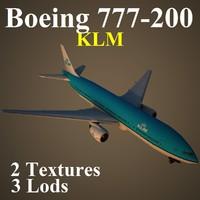 3d model boeing 777-200 klm