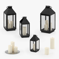 3d model of candle lamps plate