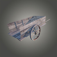 3ds max old wooden cart