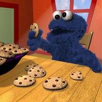 maya cookie monster character rigged