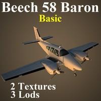 3d model beech 58 basic aircraft