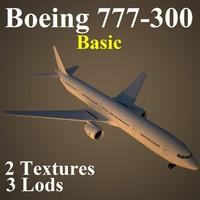 3d model boeing 777-300 basic