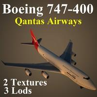 3d max boeing 747-400 qfa