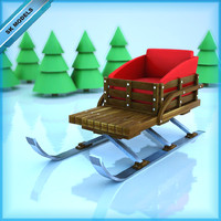 3d kids santa sleigh model