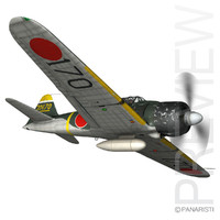 3d model mitsubishi a6m2 zero -