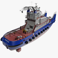 3d pusher tug boat model