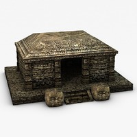 3d model ancient stone temple