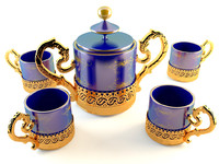 3dsmax golden tea coffee set