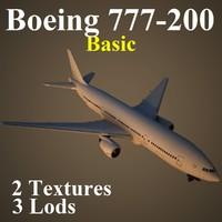 boeing 777-200 basic 3d max