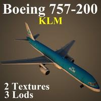 3d boeing 757-200 klm model