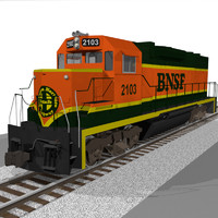 BNSF Train Engine: EMD GP38: C4D Model