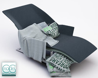chaise blanket pillows c4d