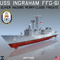 uss ingraham ffg-61 frigate ship 3d model