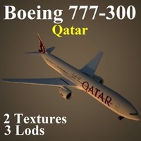 3d boeing 777-300 qtr
