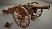 historical cannon 18th century 3d 3ds