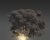 3d model carpet bombing explosions