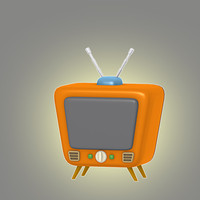 3d lwo cartoon retro tv