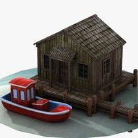 wooden lake house 3d model
