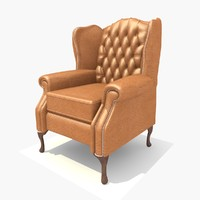3d model leather classic chair