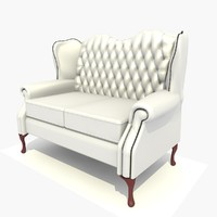 3d model of 2 seater classic chair