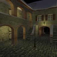 3d italian courtyard model