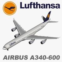 airbus a340 600 lufthansa 3d max