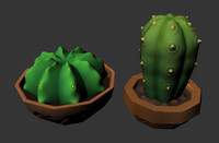 3d model low-poly cactuses