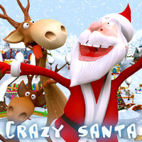 3d model crazy santa reindeers dancing