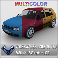 3d model multicolor volkswagen golf iv
