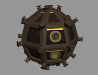 3d model classic space ship sphere