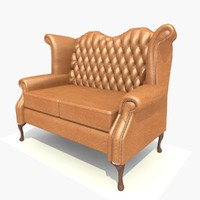 3d model seater scroll sofa chair
