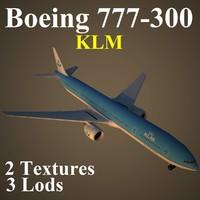 3d boeing 777-300 klm model