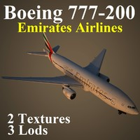 boeing 777-200 emirates airlines 3d max