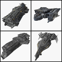 scifi spaceships cruiser fighter 3d model