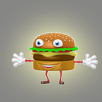 3d cartoon hamburger model