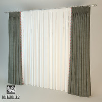 3d model curtains art deco velvet