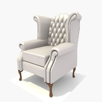 3d model seater scroll chair texturing