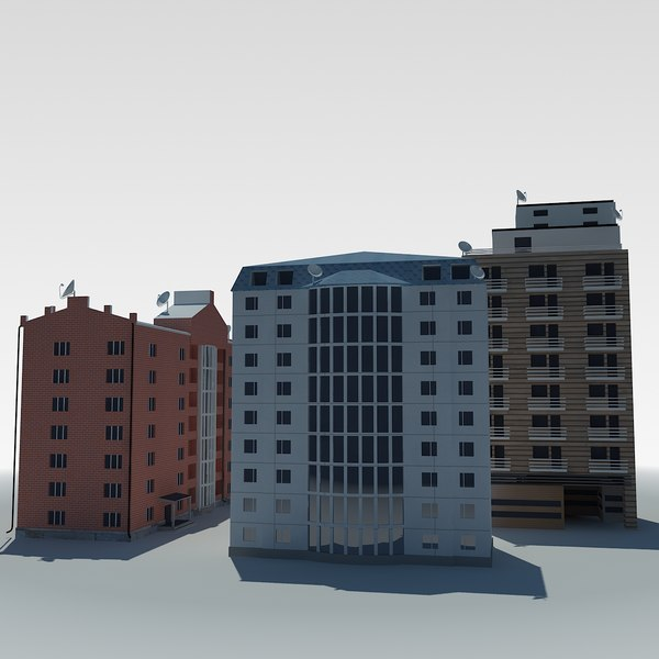 3d 3ds low-poly condo building - low poly condo multistorey building 1,2,3,4... by Dukekom