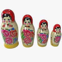 babushka nesting dolls 3d model