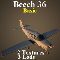 beech 36 basic 3d model