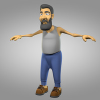 cartoon old man 3d model