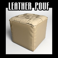 3d model leather pouf