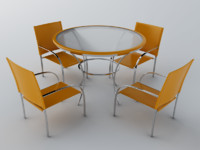 table chair set 3d model