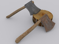 3d model axe metal rusted