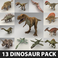 13 Lowpoly Dinosaur Rigged Models Pack