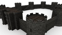 low-poly medieval 3d obj